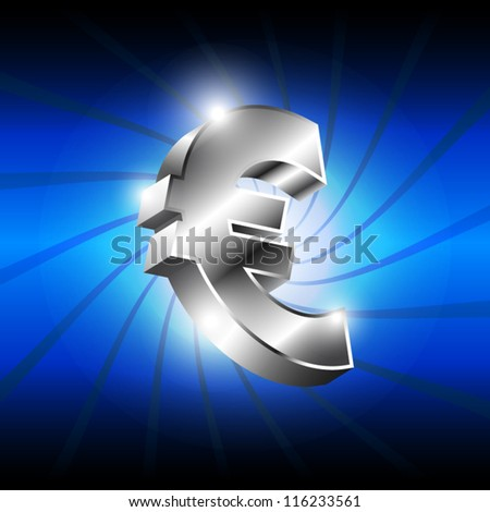 vector metallic euro money icon, business symbol