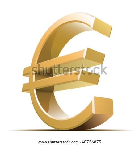 Vector metallic euro sign isolated on white background