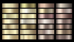 Vector metallic gold, silver, bronze colorful palette collection. Vector banners with gold and bronze gradient texture backgrounds. Website headers. Vector golden and beige mesh design for your banner