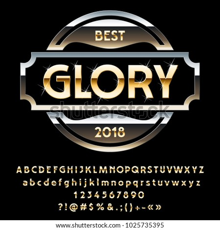 Vector Metallic Golden logotype Glory with sparkling stars. Set of Alphabet Letters, Numbers and Symbols