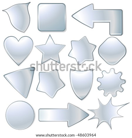 vector metallic  objects collection, isolated icons