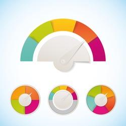 Vector meter template design elements template. Meter measure speedometer icon design template.