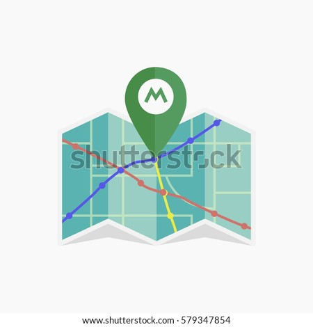 Vector metro icon. Isolated map