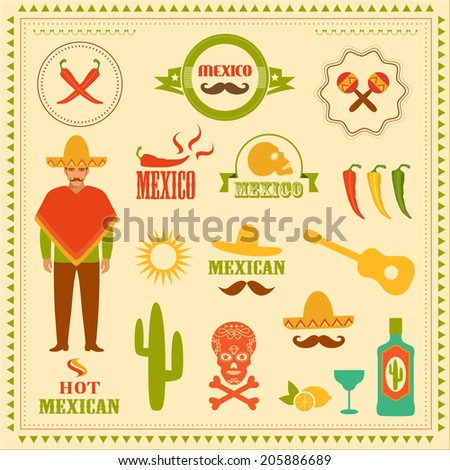 vector mexican icons  mexico