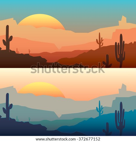 vector mexican landscape with