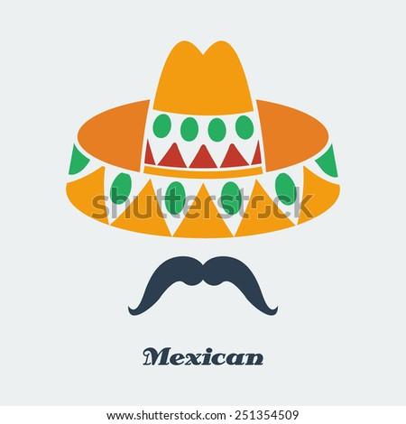 stock-vector-vector-mexican-man-mustache-sombrero-flat-color-eps