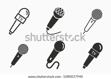 Vector microphone icon. Black illustration isolated for graphic and web design. Mic symbol.