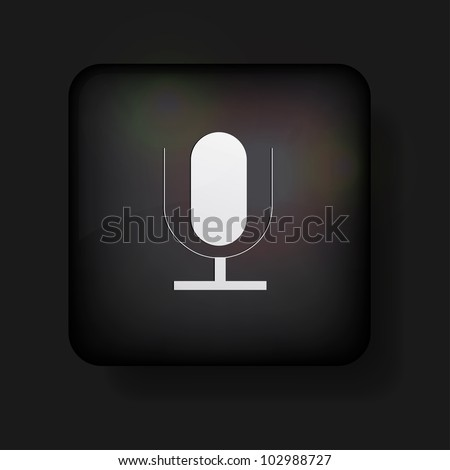 Vector microphone icon on black. Eps10