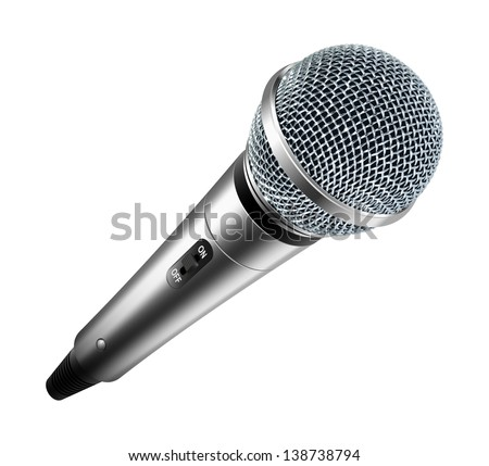 Vector microphone isolated on white background