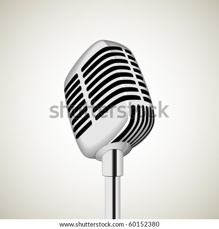 Vector microphone on the white background