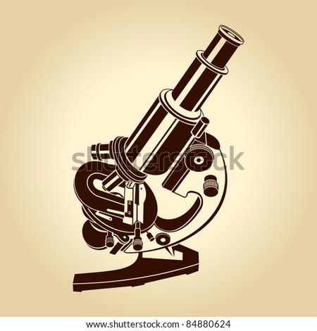 Vector microscope illustration science laboratory - stock vector