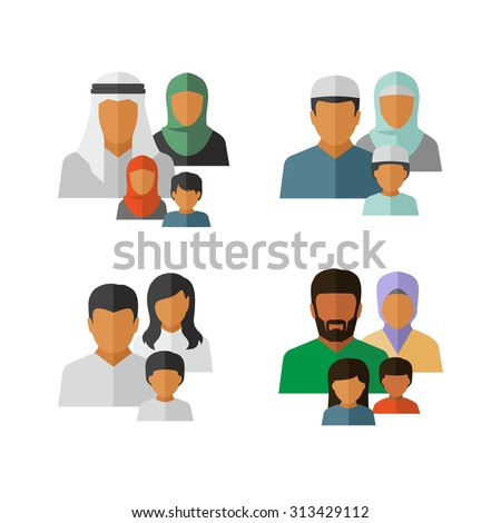 Vector Middle Eastern Family Icons