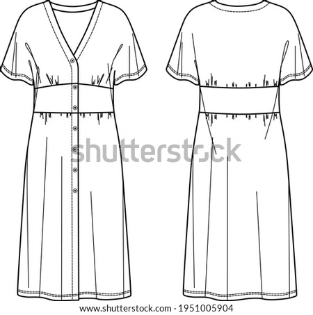 Vector Midi short sleeved Dress fashion CAD, woman long v neck dress with buttons in front technical drawing, template, sketch, flat. Jersey or woven fabric dress with front, back view, white col Сток-фото ©