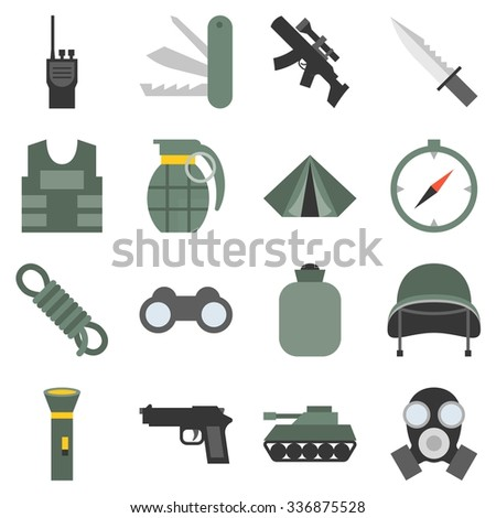 vector military icons set  flat