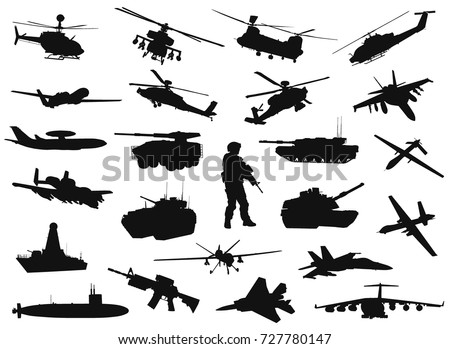 vector military silhouettes