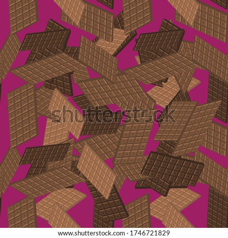 Vector Milk Brown Chocolate Bar Seamless Pattern. Sweet Food. 3d Illustration.