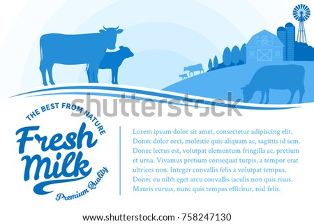 Vector milk illustration with rural landscape with cows, calves and farm