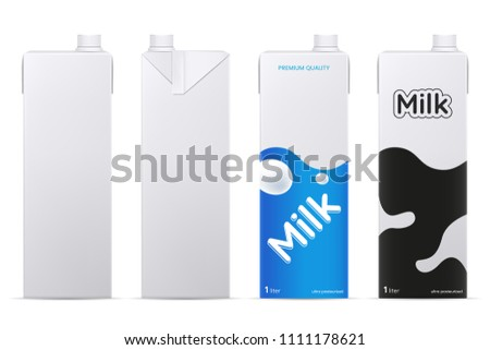 Vector milk package mockup isolated on white background. Cardboard milk or juice box mock up. Front and side view. Element for product branding. Eps 10.