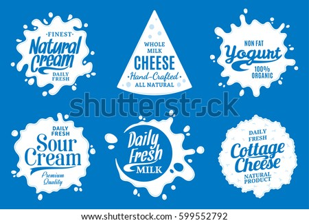 Shutterstock Vector milk product logo. Milk, yogurt, cream, cheese icons and splashes with sample text. Dairy product icons collection for grocery, agriculture store, packaging and advertising