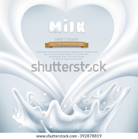 vector milk splash in the form