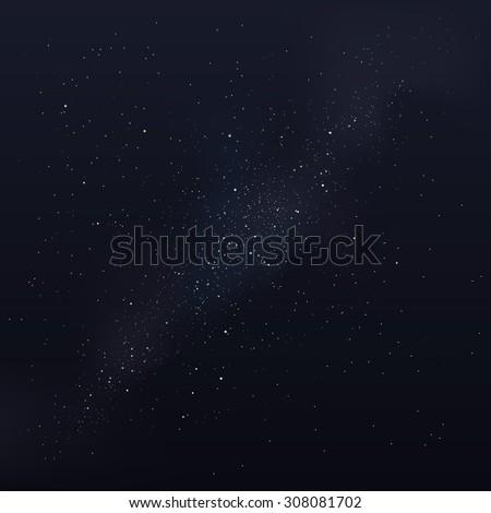 Vector milky way, vector night sky with stars