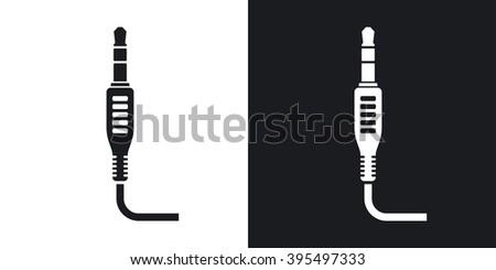 vector mini jack plug icon two