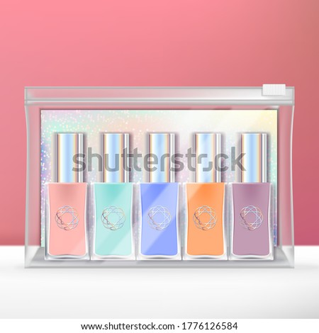 Vector Mini Nail Polish Set with Holographic Back Card & Clear Zip Lock Bag Packaging.