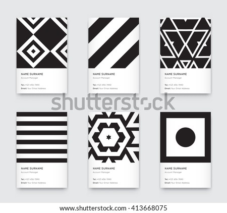 Black and white business card vector design illustration download vector minimal black and white graphic trendy vertical business cards set reheart Image collections
