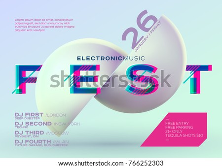 Vector Minimal DJ Poster. Electronic Music Cover for Music Fest or Club Party Flyer. Vibrant Background with Futuristic 3D Shape. Creative Minimalist Template. Horizontal Orientation. Neon Colors.