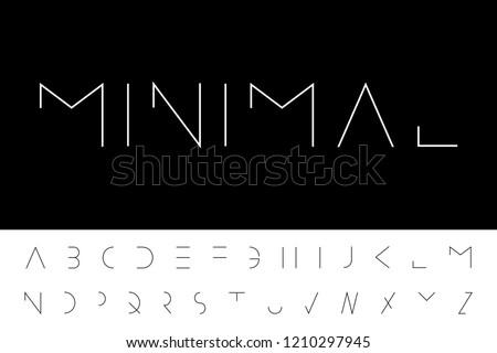 Vector minimal font - modern futuristic design. Creative english alphabet, latin letters Photo stock ©