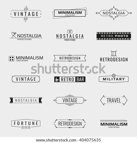 Vector minimal vintage logo templates. Logo travel, emblem company logo bar, brand logo photo studio illustration