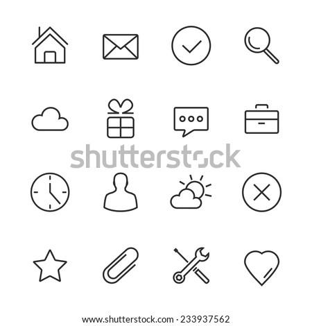 Vector Minimalism Style Design Black Icons Set. Isolated on white background.
