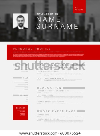 Vector minimalist black, white and red cv / resume template design with profile and header photo