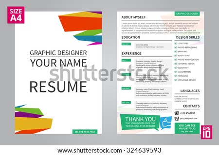 vector minimalist cv resume template for graphic designer with title front page cv - Graphic Designer Resume Format