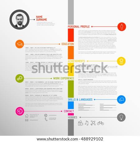 timeline resume template word sample stock vector minimalist minimalistic colorful version middle curriculum vitae