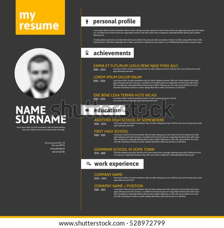 Resume Worksheet For High School Students Free Curriculum Vitae Vector Template  Download Free Vector Art  Resume Examples Objective with Resume Program Pdf Vector Minimalist Cv  Resume Template With Nice Typogrgaphy Design   Yellow And Black Version How To Send Resume Word