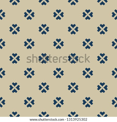 Vector minimalist floral seamless pattern. Abstract gold and blue geometric texture with small curved shapes, flowers, petals, leaves. Elegant golden ornament background. Luxury minimal repeat design