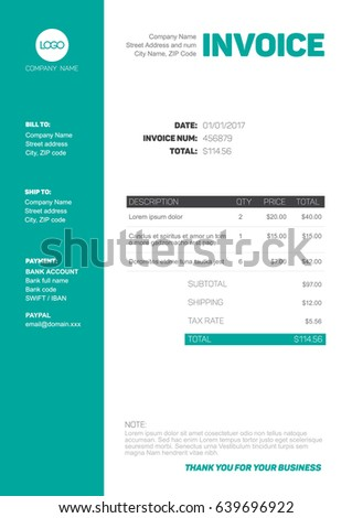 Vector minimalist invoice template design for your business / company - black, white and teal version