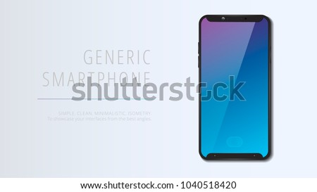 Vector minimalistic 3d isometric illustration cell phone. Smartphone perspective view. Top view. Mockup generic device. Template for infographics or presentation UI design.