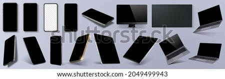 Vector minimalistic 3d isometric illustration set device. Smartphone, laptop, tablet, tv perspective view. Side and top view. Mockup generic device. Axonometric view of the device. Vector illustration