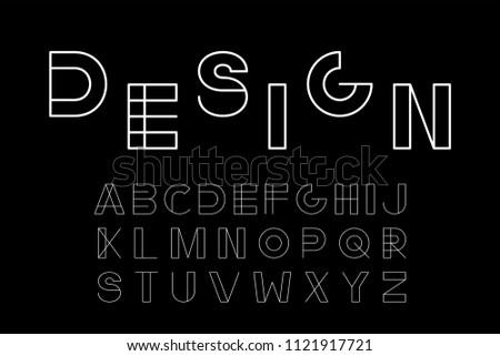 Vector minimalistic font - modern futuristic design. Creative english alphabet. White latin letters.