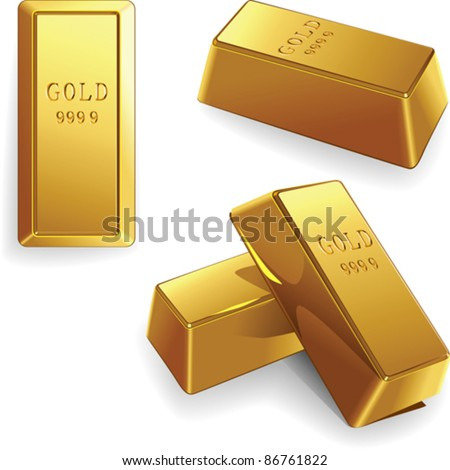 vector minted gold bars at different angles isolated on white background