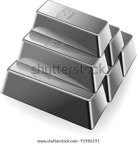 vector minted silver Bars are stacked in a pyramid isolated on white background