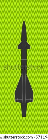 vector missile rocket with wave pattern on background