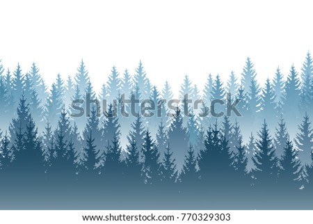 vector misty forest landscape
