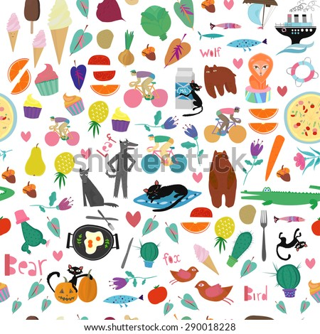 Vector mix pattern with people, animals, foods,hearts, birds. Seamless colorful illustration.