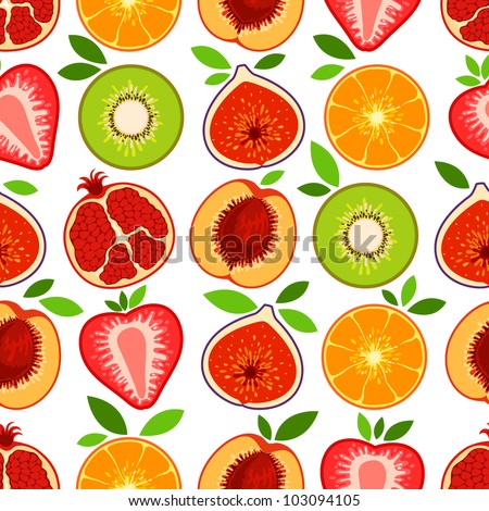 Vector mixed fruit pattern