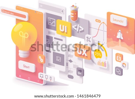 Vector mobile app creation illustration. Software engine, UX and UI, programming, application launch, multimedia elements and smartphone