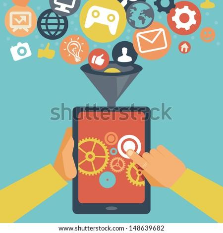 Vector mobile app development concept - hands holding tablet pc