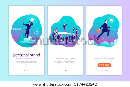 Vector mobile app interface concept design with man's personal brand theme. Victory metaphor for successful businessman. Landing page, UI site template design. Web banner, mobile app illustration. - Shutterstock ID 1194428242